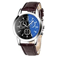 Toamen Luxury Fashion Faux Leather Mens Ray Glass Quartz Analog Watches