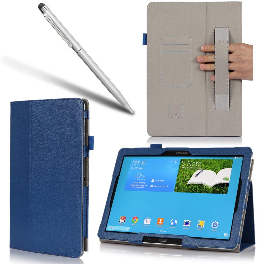 i-BLASON Samsung Galaxy Note Pro 12.2 Case & Galaxy Tab Pro 12.2 Case - Leather Book (Elastic Hand Strap, Multi-Angle, Card Holder) for SM-P900 With Bonus Stylus 3 Year Warranty (Blue)