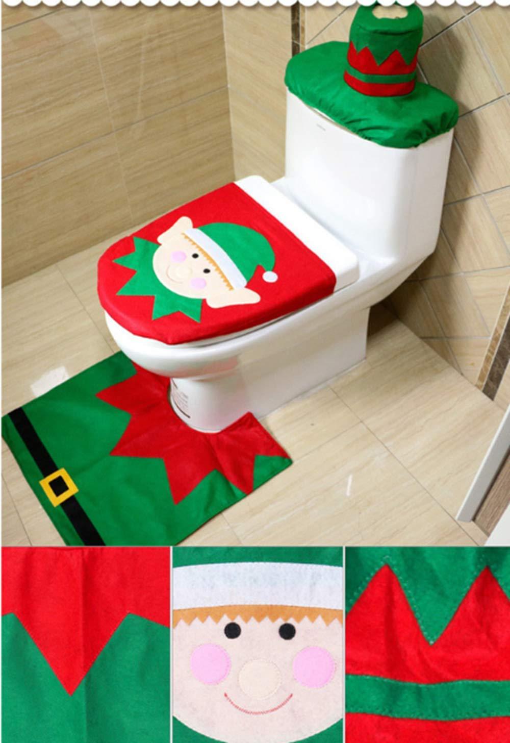Weihnachtsdekoration f/ür Badezimmer Heimdekoration Green and Red Dada WC-Sitzbezug und Teppich Happy Santa