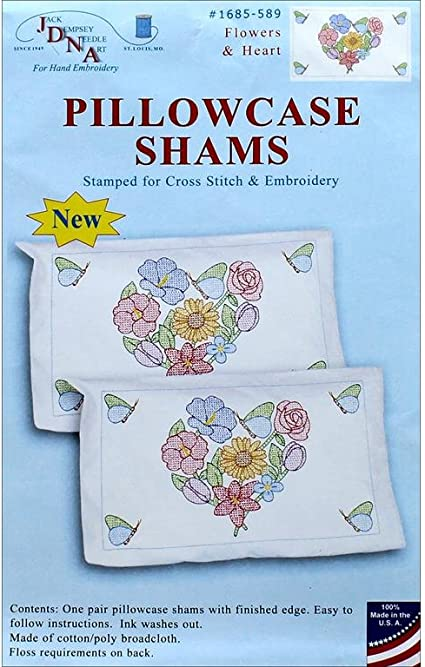 Jack Dempsey 1685 589 Stamped Pillowcase Shams 2//Pkg-Flowers /& Hearts