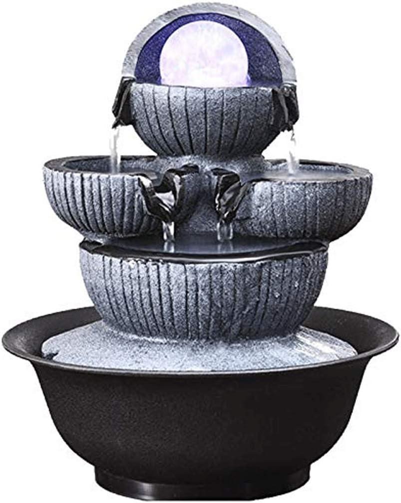 ZLBYB Escultura de decoración, pequeña Cascada de Agua, Relajación, Cubierta Decorativa Fuente de Mesa for aliviar el estrés (Color: Gris, tamaño: 27 * 22 * 22 cm)