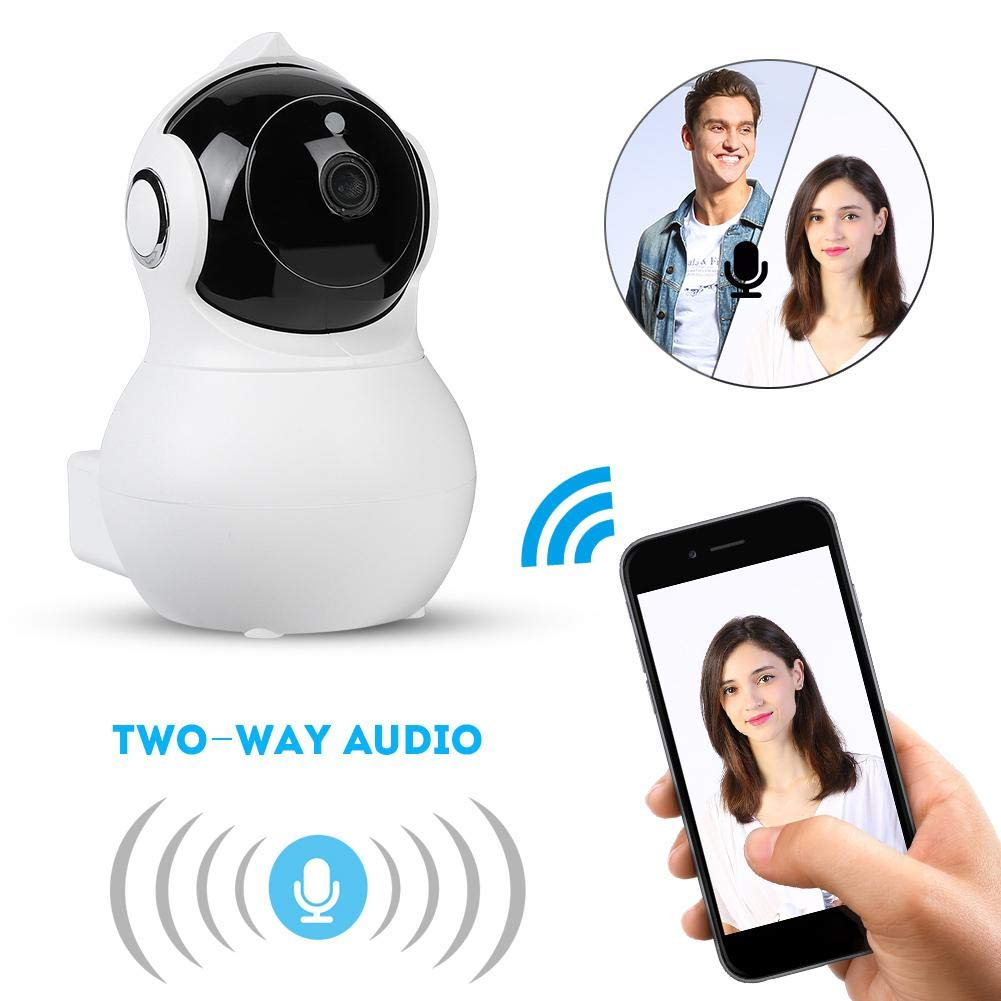 Security Camera,ASHATA WiFi Webcam 100-240V Wireless 1080P Baby Monitor Canera with Network CCTV Infrared Night Vision (White)