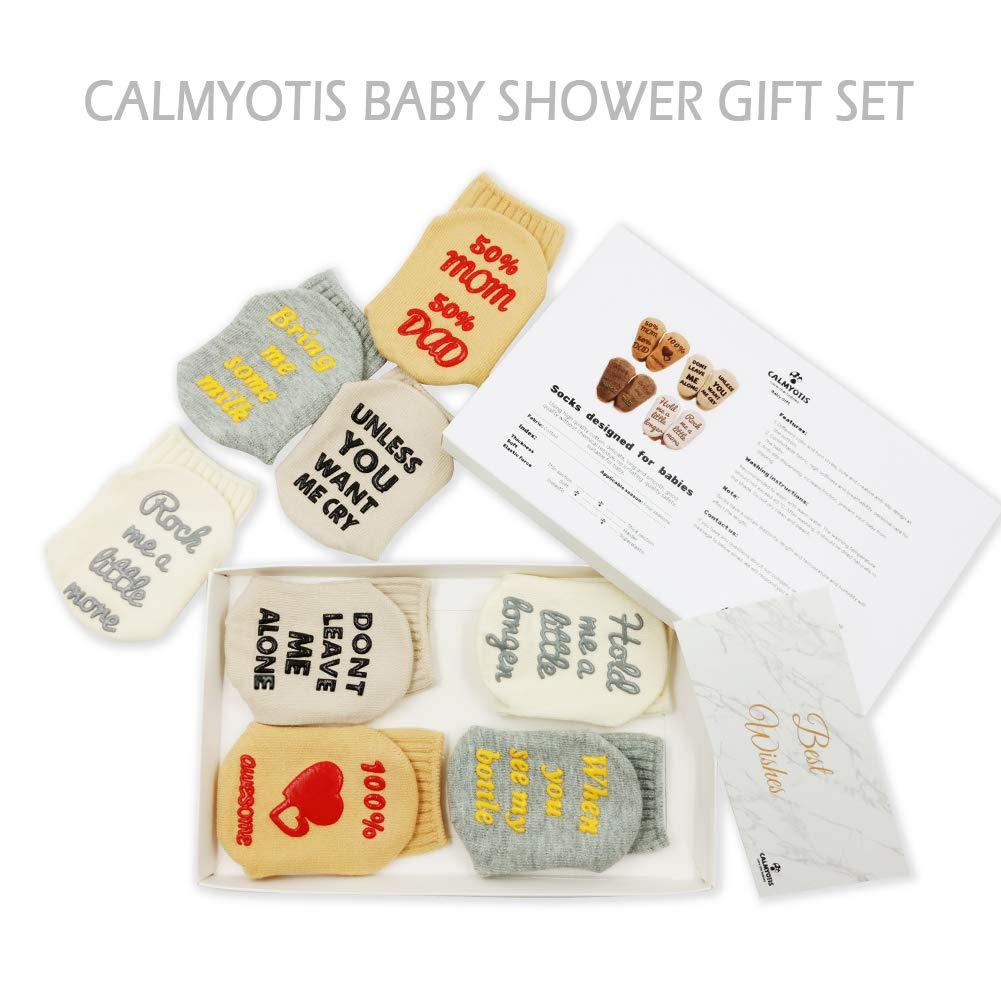 CalMyotis Funny Baby Socks Gift Set for Baby Shower, 0-12 Months Newborn Boys Girls Present, Cute, Anti Slip 4 Pair