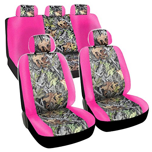 CarsCover Real Pink Camo Seat Covers Maple Forest Tree leaf Pattern Camouflage for Auto Truck Car SUV Women Style Seat Cover (9pc Low Back) - Maple Set Bench