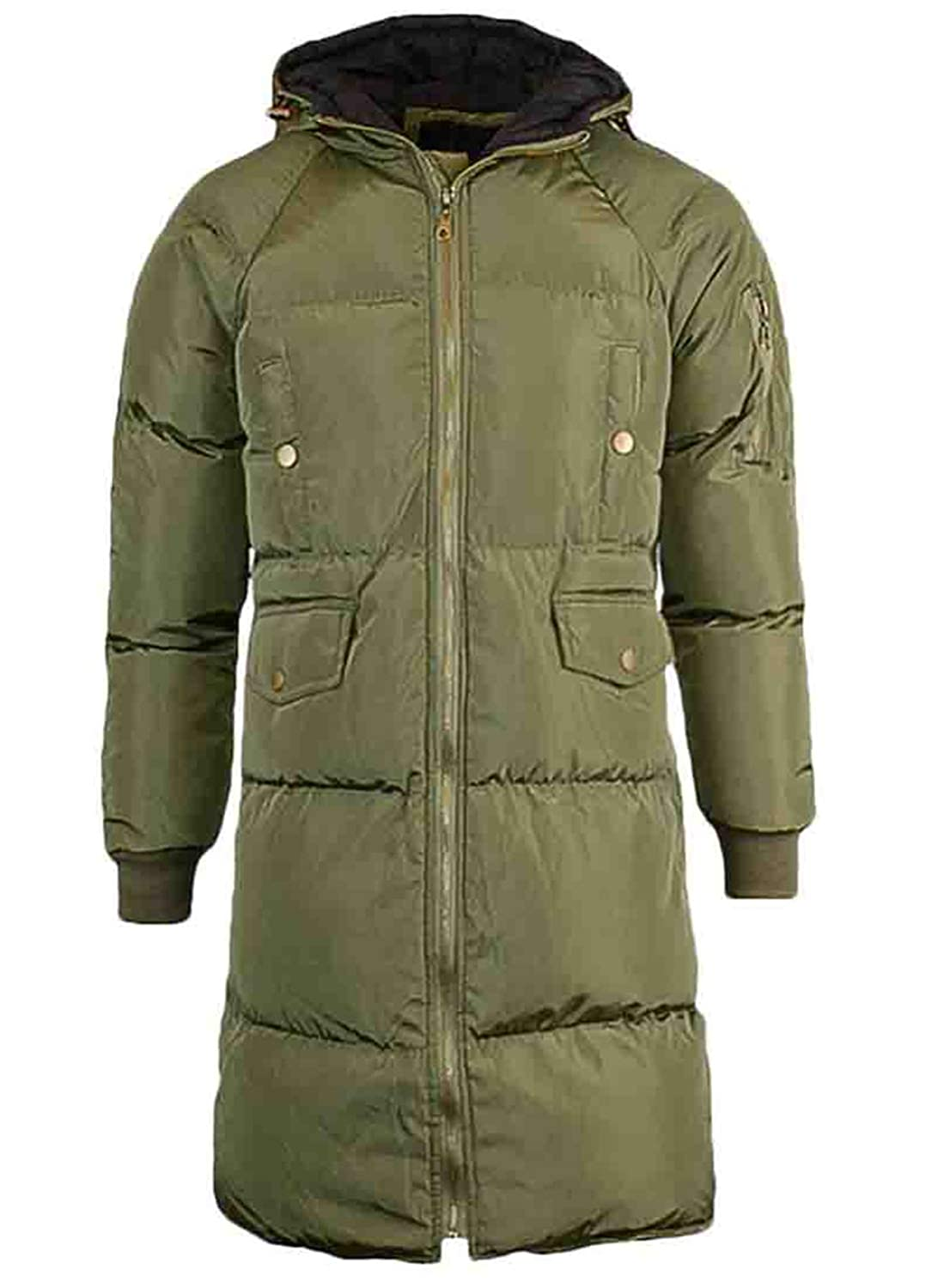 Spirio Mens Winter Warm Hooded Thicken Zip-Up Long Padded Quilted Outerwear Puffer Jacket