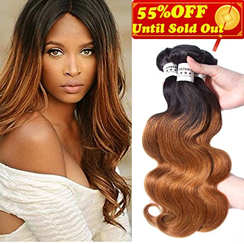 Blonde T1B/30 Ombre Brazilian Body Wave 3 Bundles T1B 30, 2 Tone Brazilian Hair Weave Bundles Ombre Dark Brown Human Hair Extensions. Soft Thick Silky Smooth Tangle Free (12 &14 & 16)