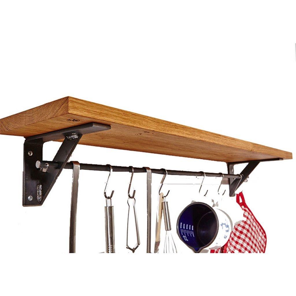 壁掛けシェルフ ヨーロッパのロフトレトロスタイルの鉄と木製の棚、キッチンの壁のストレージボード本棚の壁吊り下げ式のラックの装飾的な壁の棚のコーナーフレームの棚板の収納スタンドディスプレイ付きフック (サイズ さいず : 70*20*15cm) 70*20*15cm  B07B7KYLYT