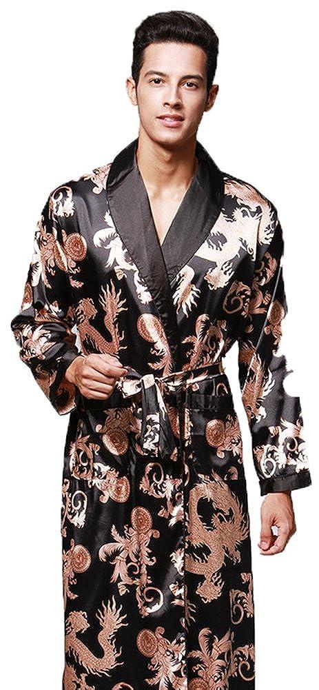 Wentsven Mens Synthetic Satin Silk Pajama Bath Robe