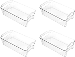 Puricon Refrigerator Storage Bins (4 Pack), Clear Stackable Plastic Freezer Organizer Food Storage Containers with Handles for Fridge Freezer Kitchen Cabinets -Clear