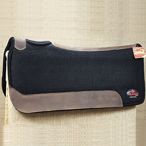 (HILASON FP110-F Western Wool Felt Gel Saddle PAD W/Leather Border- Black)