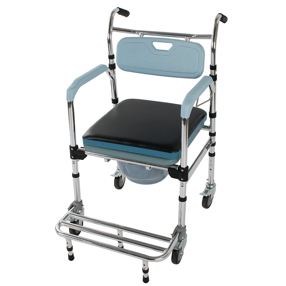 Mefeir Folding Commode Chair for Toilet with Wheels&Pedal,Heavy Duty 350 lbs,4 in 1 Multifunctional Portable Bidet Chair Shower Bath Chair for Elder Disabled People Pregnant Women(Light Blue)