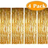 Paxcoo 4 Pack Foil Fringe Curtains Metallic Tinsel Curtain for Birthday Wedding Party Decorations Party Photo Booth Backdrop