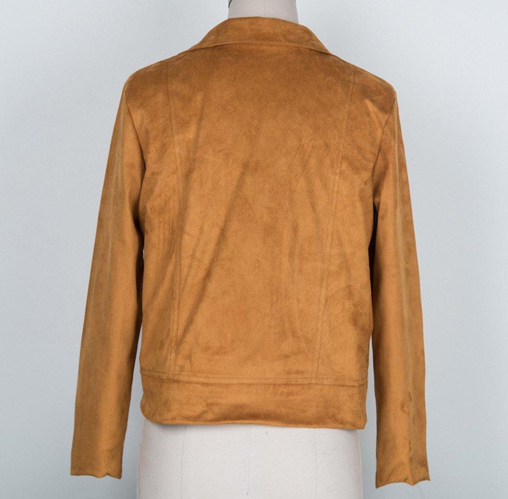 felicove Abrigos para chaquetas de mujer, sexy Invierno Slim Biker moto chaqueta de piel Zipper abrigo, bambú, marrón, large: Amazon.es: Iluminación