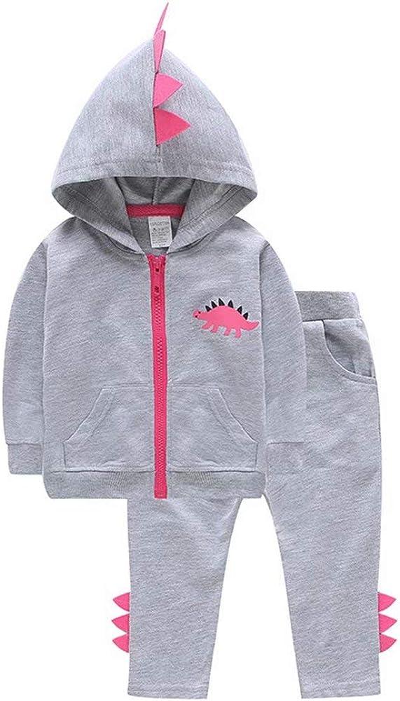 Long Pants TAOHONG Baby Girl 2pcs Set Outfit Dinosaur Print Hoodie Sweatshirt Top