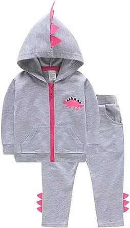VILOVE Baby Girl 2pcs Set Outfit Dinosaur Print Zipper Hoodie Sweatshirt Top+ Long Pants