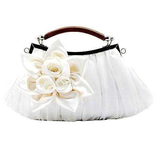 KAXIDY Bolso de Embrague Flor Bolsos de Fiesta Bolsos de Boda Carteras de Mano (Blanco