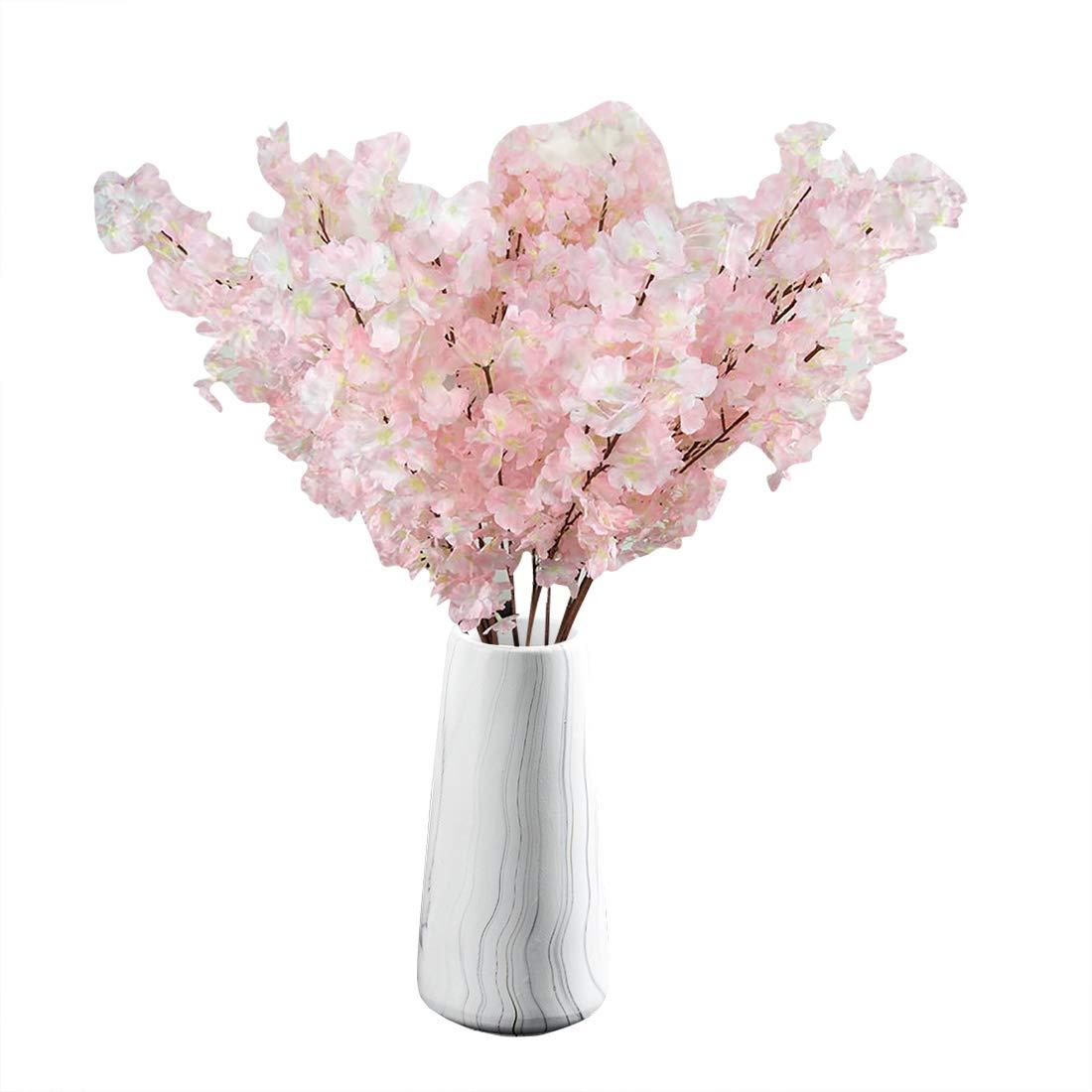 TtMarket 造花 桜の枝 シルク造花 39インチ 人工チェリーフラワーアレンジメント ホーム/ウェディング/オフィス装飾用 6個 ピンク B07PZ11V15 ピンク