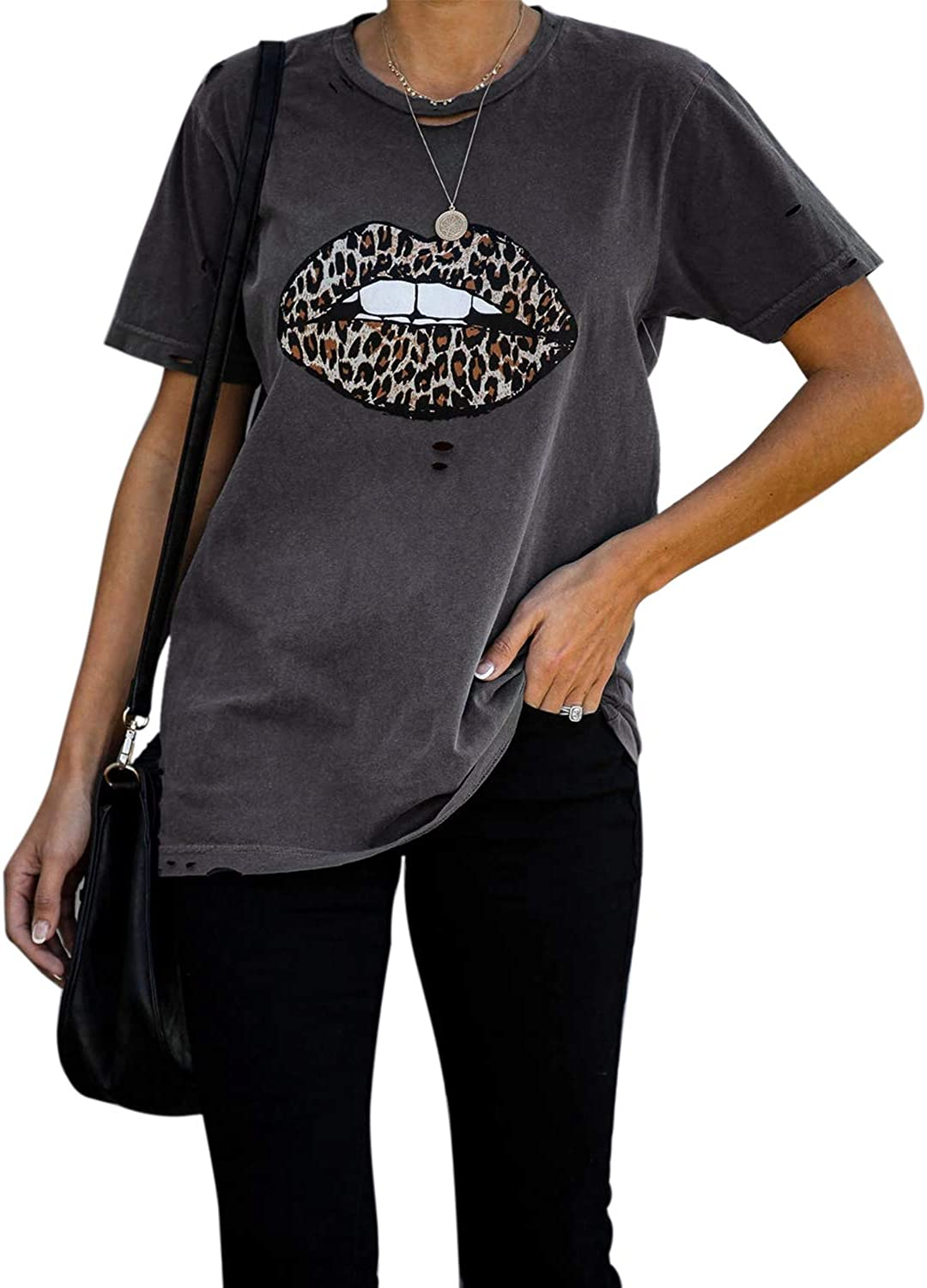 Angashion Womens Casual Cute Shirts Leopard Print Tops Basic Short Sleeve Round Neck Pullover Blouse