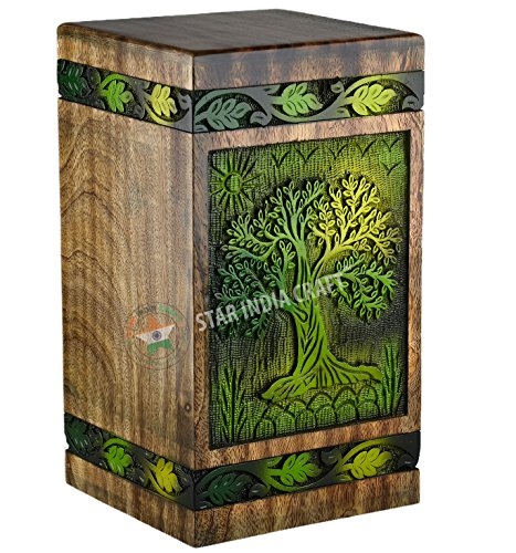 STAR INDIA CRAFT Beautifully Handcrafted Tree of Life Engraving Wooden Urns for Human Ashes Adult, Large Wooden Cremation Urns for Ashes Engraving, Wooden Box, Funeral Urn - Burial Box - 250 Cu/in