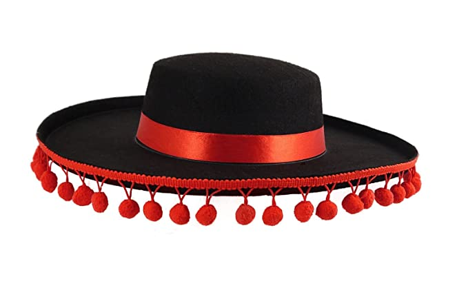 Rimi Hanger Unisex Black Spanish Hat With Bobbles Mens Mariachi Fancy Dress  Book Week Hat One Size at Amazon Men s Clothing store  d4233362e5e7