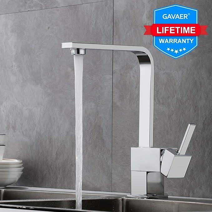 37 opinioni per GAVAER Miscelatore Cucina, Girevole a 360° Design a contorno dritto Rubinetto