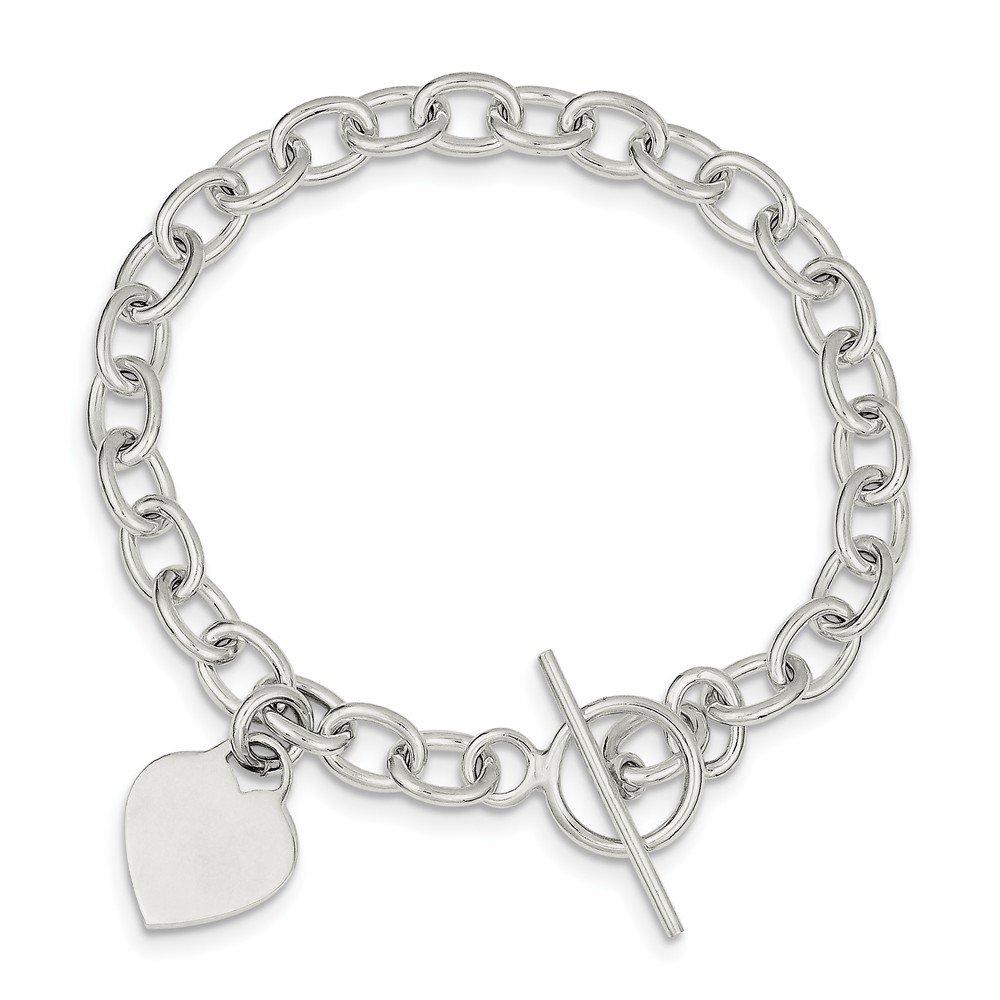 Diamond2deal Argent Sterling 925Pendentif en Forme de cœur Bracelet à Breloques 18,4cm