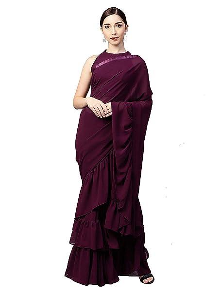 f0aa379953778e Jesti Designer Purple Raffel Georgette Saree  Amazon.in  Clothing    Accessories