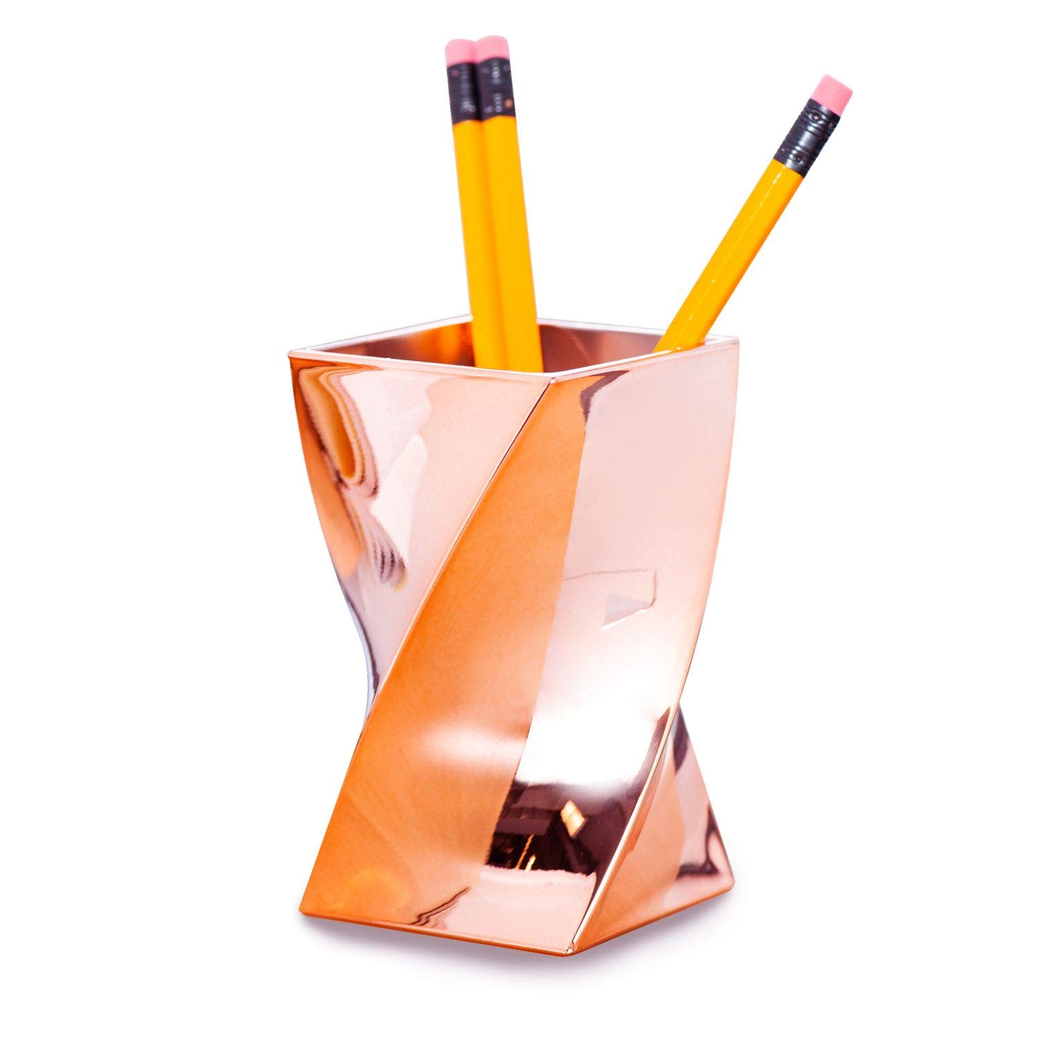 Zodaca [Wave Design] Stylish Rose Gold Pen Holder Twist, Chrome Color Pencil Brush Cup Desktop Stationery Makeup Organizer, Bright up your Office, Home, Schools Supplies, Great Gift Idea