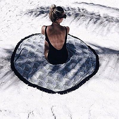 Dealit Telo Mare 150cm Tondo Telo Mare Con Nappe Stampa Yoga Tappeto Blanket Materassino da Campeggio Cuscinetto Imbottito
