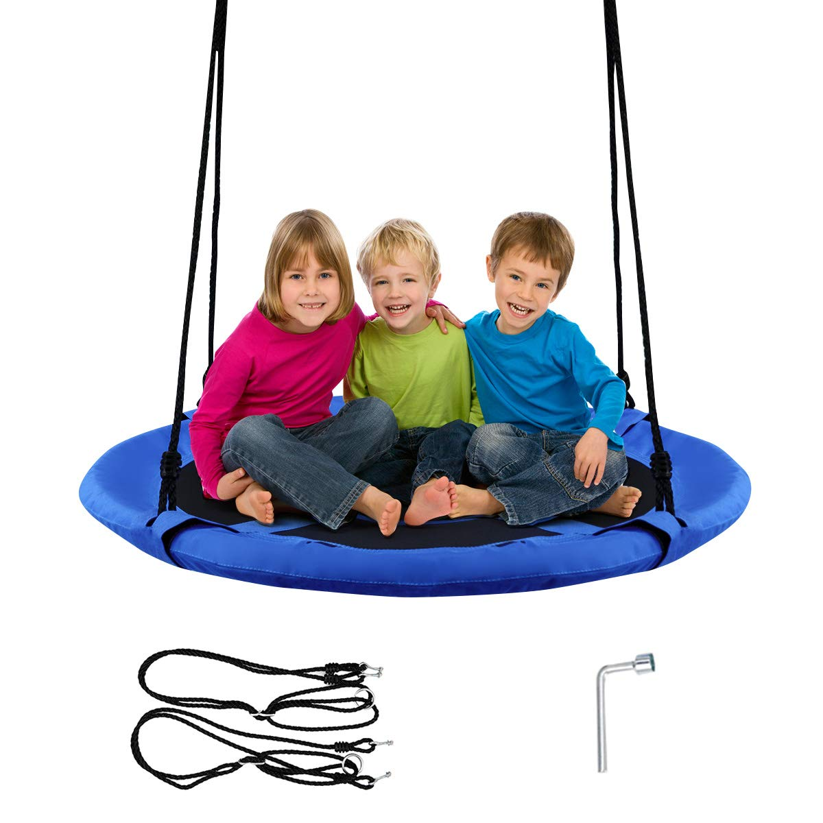 Costzon 40'' Waterproof Saucer Tree Swing Set, Outdoor Round Swing - Adjustable Hanging Ropes, Safe and Sturdy Swing for Children Park Backyard (Blue) by Costzon