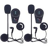 Fodsports 2 Pieces 500M Etanche Moto Ski Atv BT Headset Casque Intercom Bluetooth multi Moto Interphone Casque Bluetooth Weatherproof casque avec Bluetooth GPS Navigation vocale