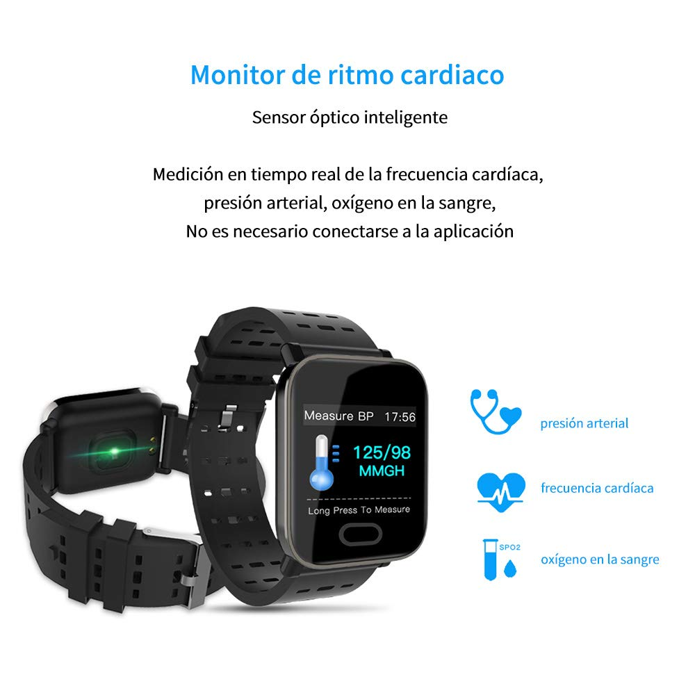 SoloKing Pulsera Actividad Pantalla Color Monitor de Ritmo cardiaco,sue/ño,Mide los Pasos Calor/ías