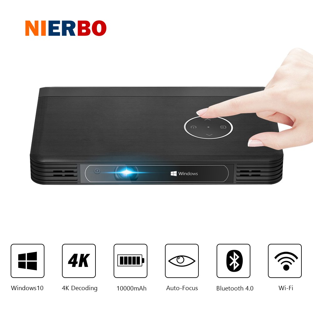 Portable LED Projector 4K Decoding Windows 10 Office Business Presentation Projector 10000mAh Battery 2G+32G HDMI WiFi Bluetooth with 64bit Processor