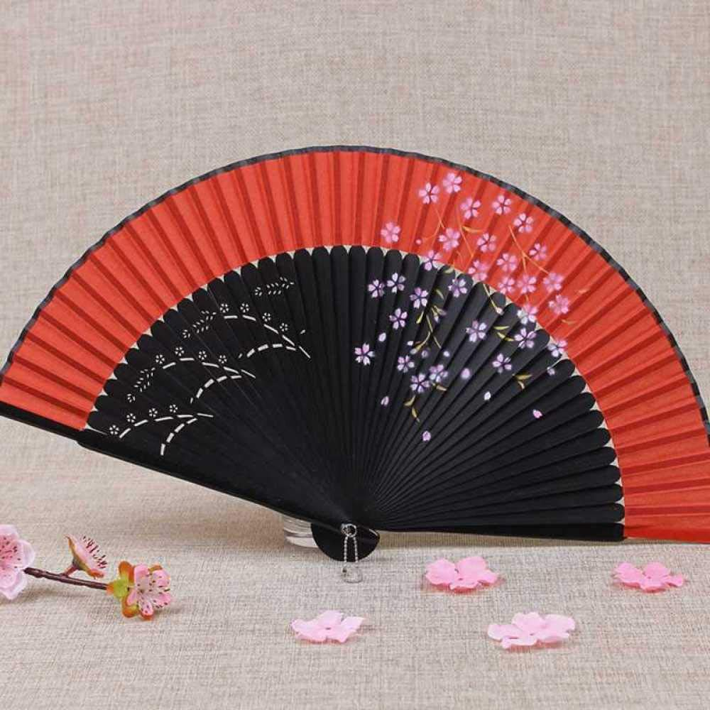 Folding Fan Big Red Chinese Style Dancing Fan Japanese Lady Classical Hand-Painted Craft Gift Dance Fan Summer Cool Tool,E