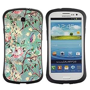 "Hypernova Slim Fit Dual Barniz Protector Caso Case Funda Para SAMSUNG Galaxy S3 III / i9300 / i747 [Rama Jardín Flores Pintura Arte""]"