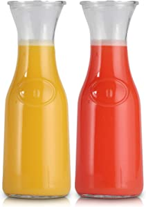Glass Bottle Carafe 1 Liter Stylish Narrow Neck Beverage Dispenser Bottle for Brunch, Parties, Birthday, Margarita, Champagne, Mimosa, Iced Tea, Sangria, Punch, Lemonade | Includes Airtight Lids (2)