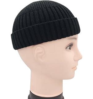 b6b404156a8 Clecibor Unisex Rollup Edge Knit Skullcap Adjustable Short Beanie for Men  Women