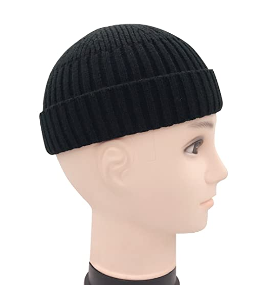848ccdc5700 Clecibor Unisex Rollup Edge Knit Skullcap Soft Stretchy Autumn Winter Knit  Short Beanie for Men Women