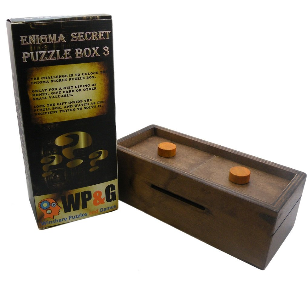 Puzzle Box Enigma Secret Explorer - Money and Gift Card holder in a Wooden Magic Trick lock with hidden Compartment Piggy Bank Brain Teaser Game by Winshare Puzzles and Games (Image #1)