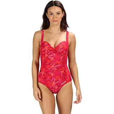 751f4665a95 Regatta Women's Sakari Tummy Control Swim Costume, Dark Cerise Tropical, ...