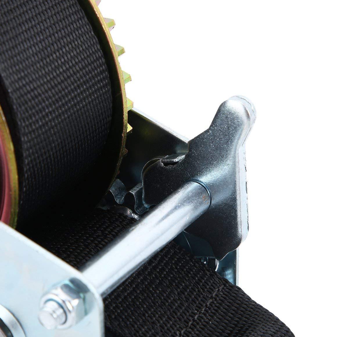 Funnyrunstore Manuel 1500lbs 8m Polyester Fibre Sangle C/âble Main Remorque Bateau Remorque Deux Engrenages Extracteur Outil /À Main Outil De Levage
