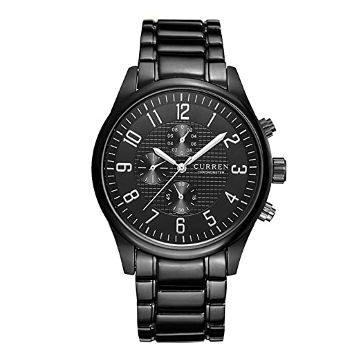 Relojes Pulsera Único Sub-dial Cronógrafo Decorativo Cuarzo Relojes Hombre Correa de Acero Inoxidable Clásico, Negro: Amazon.es: Relojes