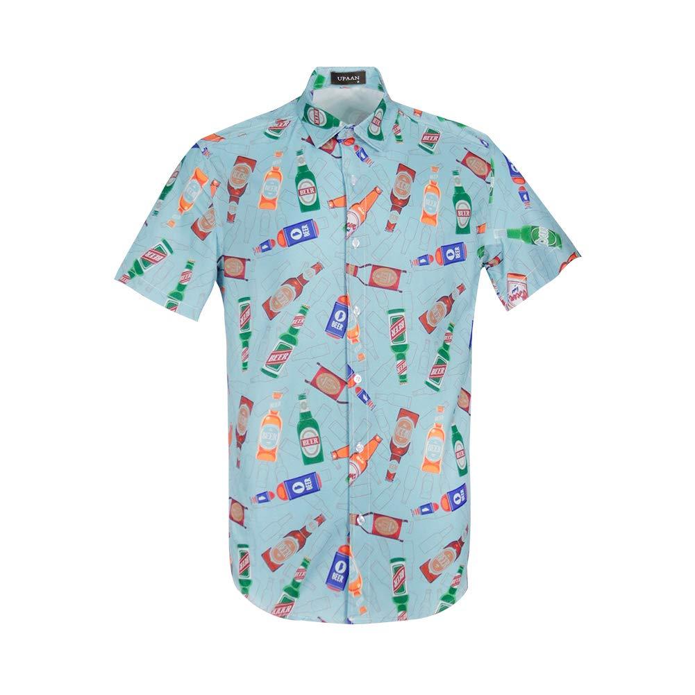UPAAN Men's Beerbottle Hawaiian Short Sleeve Shirts Casual Tropical Food Print Funky Button Down Shirt Blue by UPAAN