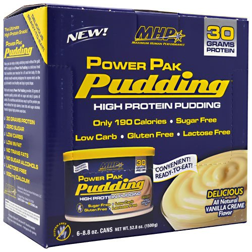 MHP Power Pak Pudding - 6 - 250g Cans - Delicious All Natural Vanilla Creme