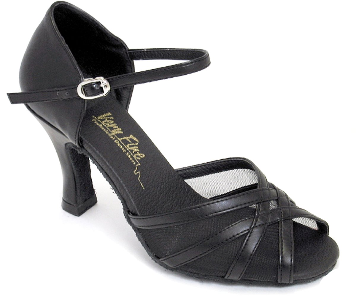 Very Fine Women's Salsa Ballroom Tango Latin Dance Shoes Style 6027 Bundle With Plastic Dance Shoe Heel Protectors,Color Blackleather, Size:8.5B by Very Fine Dance Shoes