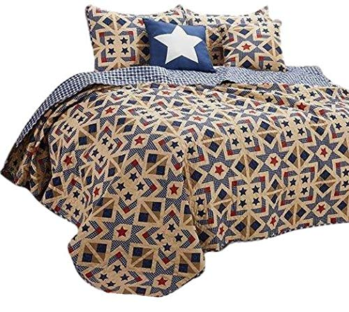 - Virah Bella Stars and Plaid Country Farm House Style Reversible Printed Quilt Set (Irish Cream, Queen/Full)