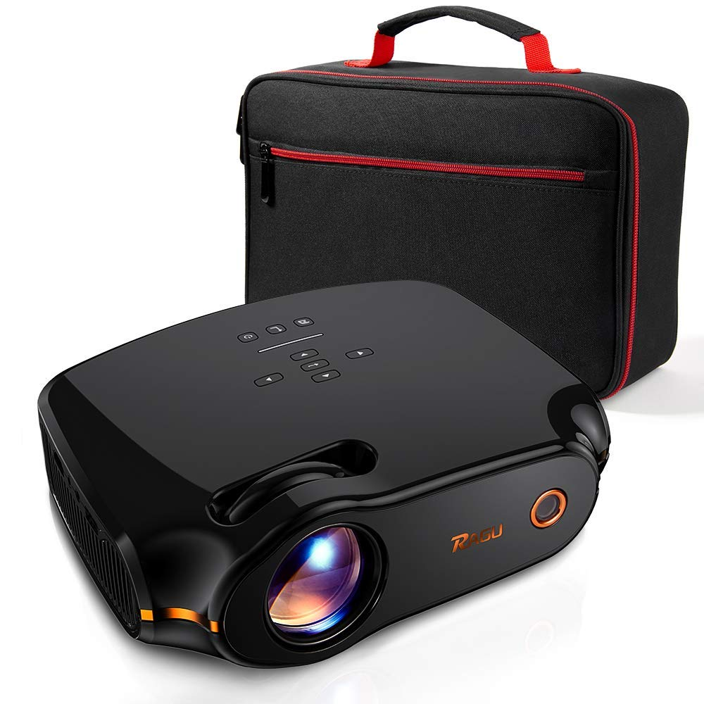 RAGU Z498 Mini Projector, 2019 Upgraded Full HD 1080P 180'' Display Supported, 50,000 Hrs Home Movie Projector for PC/MAC/DVD/TV/Xbox/Movies/Games/Smartphone with HDMI/VGA/USB/AV/SD (Black) by RAGU