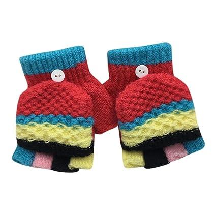 ef93872ecbd98 Guantes manoplas de bebe Amlaiworld Guantes sin dedos invierno niño niña  Guantes calientes del remiendo (