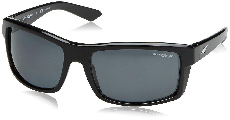 Arnette Mens Corner Man Polarized Rectangular Sunglasses GLOSS BLACK 61 mm 0AN4216 MOD.4216SUN/_41//81-61