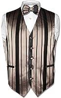 Men's Dress Vest & BOWTie TAUPE LIGHT BROWN Woven Striped Design Bow Tie Set